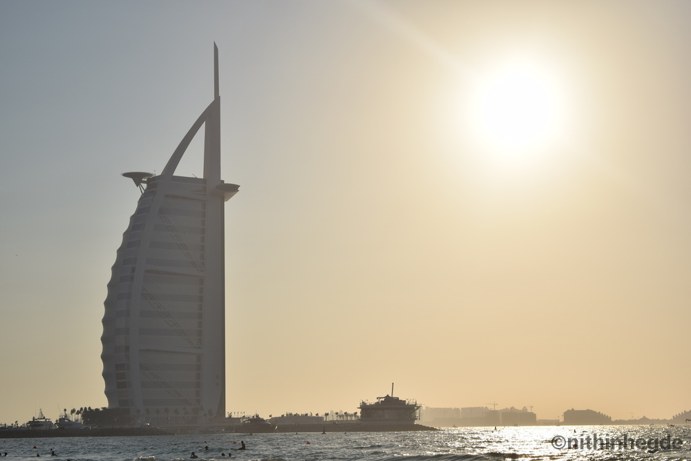 Palm Jumeirah Public Beach with View of Burj Al Arab