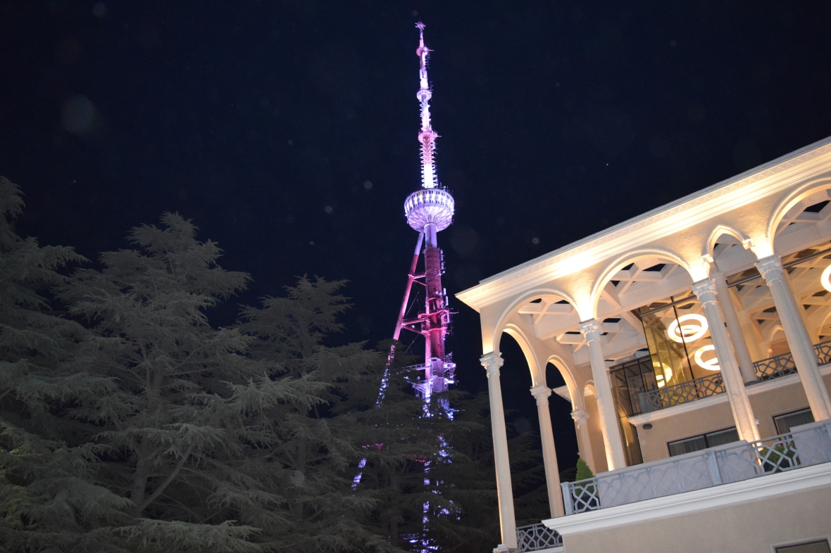 Tatsminda TV tower and Soviet Time Hotel Kartli