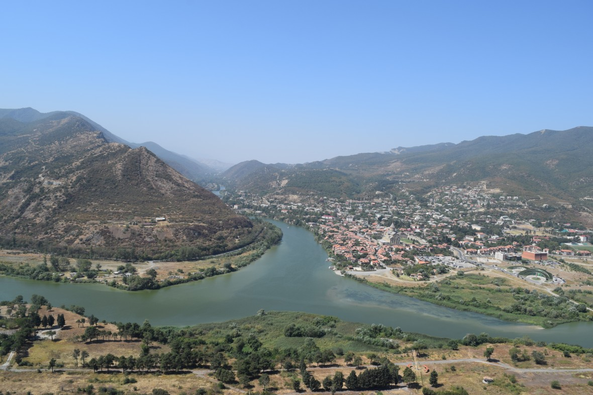 view of the meeting of the two rivers mtkvari and aragvi along with the beautiful view of the Mtskheta city